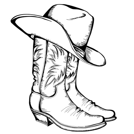Cowboy boots and hat graphic illustration