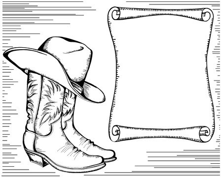western background with cowboy boots and scroll for text Graphic image Stock Vector - 17229567