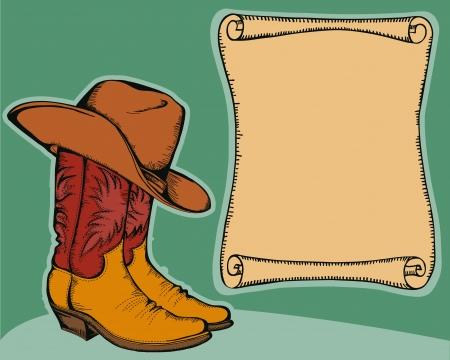 western background: fondo occidental con botas de vaquero y sombrero ilustraci�n de color para el texto