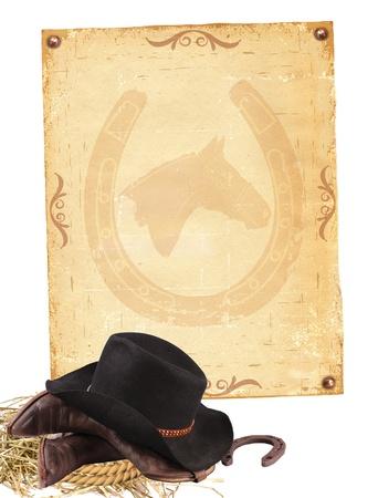 head wear: Sfondo occidentale con abiti da cowboy e vecchia carta isolato