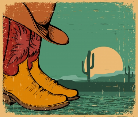 cowboy background: western background with cowboy shoes and desert landscape on old