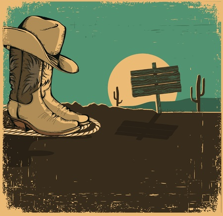 Western illustration with cowboy shoes and desert landscape on old texture for design Vector