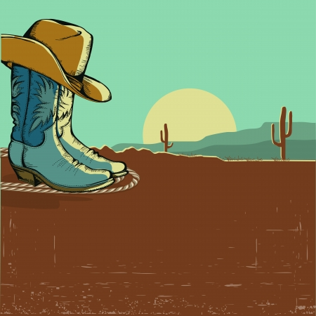 western image illustration with desert landscape.Vector color background Vector