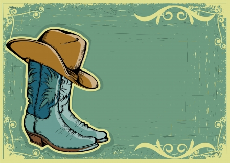 Cowboy boots color image  with grunge background for text Vector