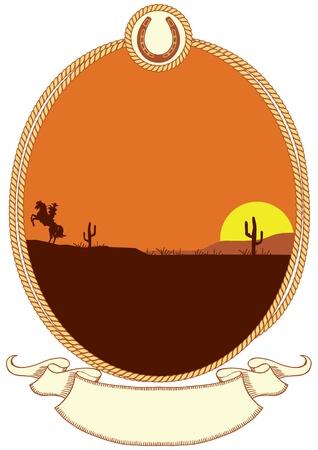 western background: Vaquero occidental de fondo con el marco de cuerda para el texto
