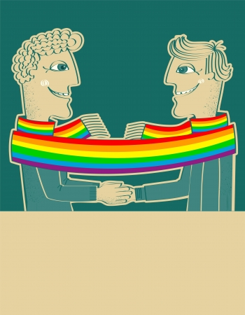 homosexual partners: happy gays couple with hands together.Vector background