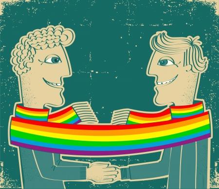 boda gay: gays feliz pareja con desbobinador together.Grunge manos en el papel viejo