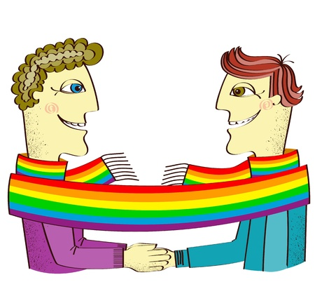 gay pride rainbow: happy gays couple with hands together.Vector cartoons illustration isolated on white Illustration