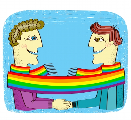 sexual couple: happy gays couple with hands together.Vector cartoons illustration