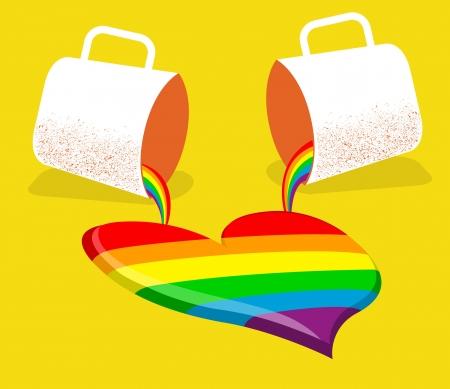 bandera gay: amor gay cartel card.Vector con dos tazas y el corazón gay abstracto