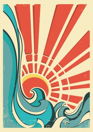 wave surfing: sea waves.Vintage illustration of nature poster with yellow sun on old paper Illustration