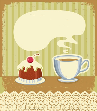 english tea: Vintage tea time background with sweet desert