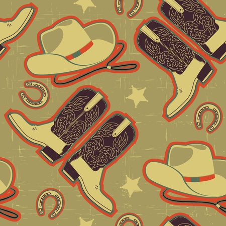 cowboy seamless pattern for background.Vintage image Vector