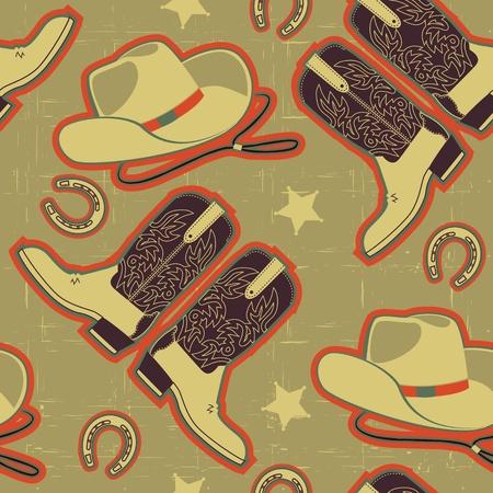 western pattern: cowboy seamless pattern for background.Vintage image