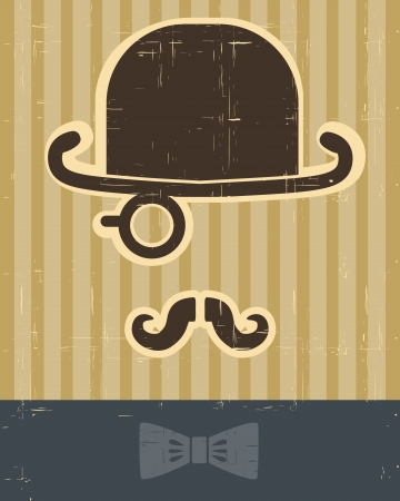 gentlement with mustache and hat on vintage card background for design Vector