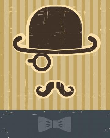 gentlement with mustache and hat on vintage card background for design Векторная Иллюстрация