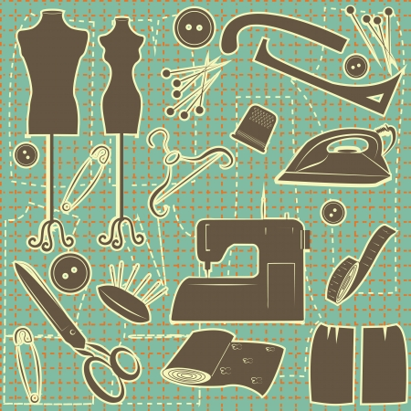 sewing symbol seamless pattern.Tailoring background Vector