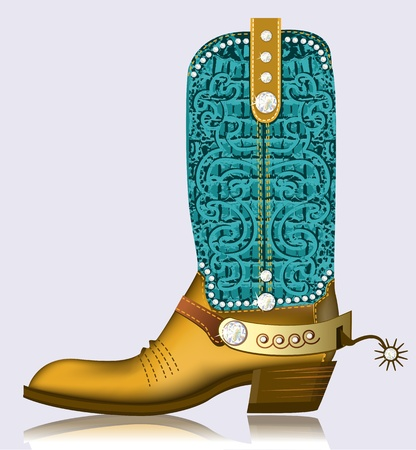 ccowboy boot and spur.Luxury shoe with diamonds and decoration Vector