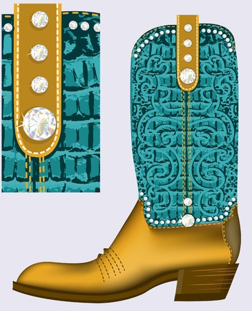 cowboy boot.Luxury shoe with diamonds and decoration Vector