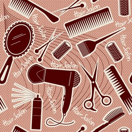 hairdressing equipment seamless pattern. Vector