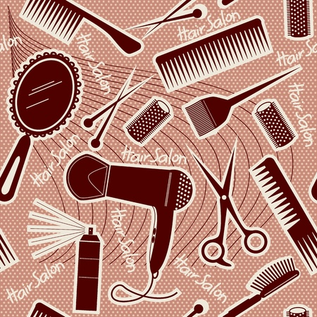 cutting hair: hairdressing equipment seamless pattern. Illustration