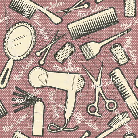 hairdressing equipment seamless pattern.Vintage on old texture Stock Vector - 17996941