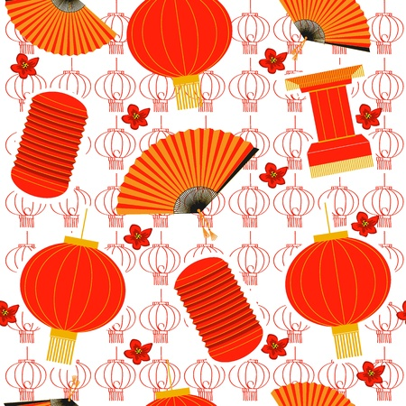 chinese lanterns seamless pattern. red background Vector