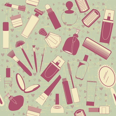 cosmetology: cosmetics seamless pattern.Vintage on old texture