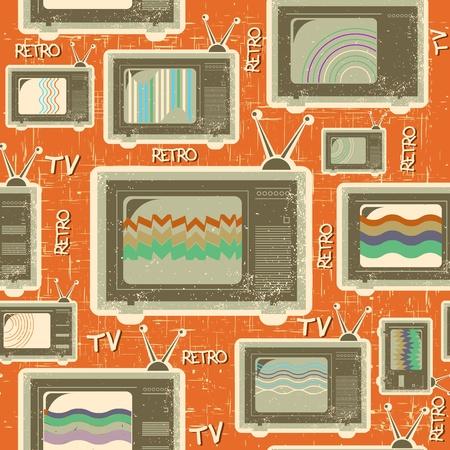 vintage television: tv retro seamless pattern.Vintage background on old paper