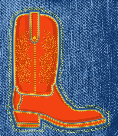 ranch background: Cowboy shoe on blue jeans texture background.Vector boot symbol