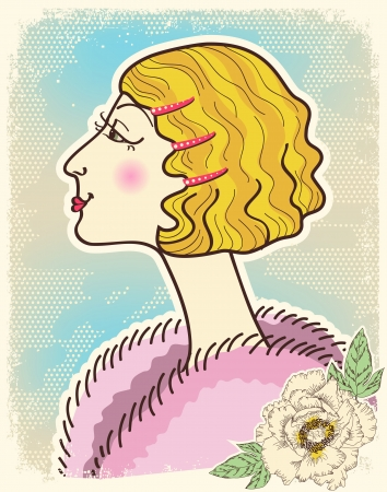 woman fur: Vintage fashion woman.Vector illustration on old texture Illustration