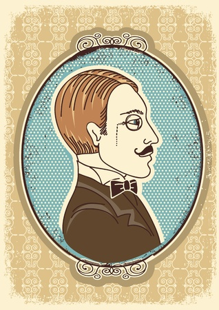 aristocrat: Vintage gentleman face portraits in frames illustration