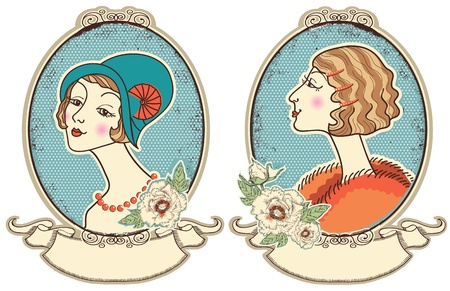 aristocrat: Vintage woman portraits in frame people illustration