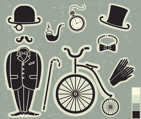 top hat: Vector gentlemens fashion and Accessories isolated