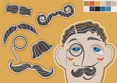 gentleman face and mustaches.Vector fashion elements  Illustration