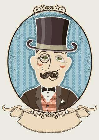 Retro gentleman portrait in a top black hat.Vector man in vintage frame Stock Vector - 19467105