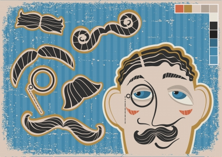 Vintage gentleman face and mustaches on old poster
