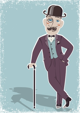 19th: Vintage gentleman in black bowler hat and cane.Vector illustration