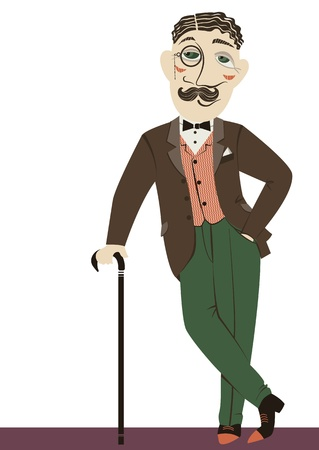 englishman: Vintage gentleman with cane.Vector illustration of man isolated on white
