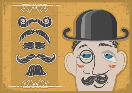 bowler hat: Vintage gentleman face in bowler hat and mustaches on old paper