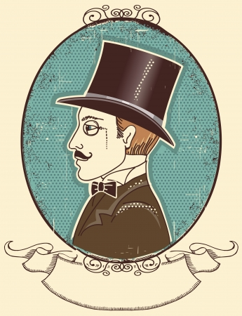 aristocrat: Elegant gentleman in a top black hat.vintage illustration