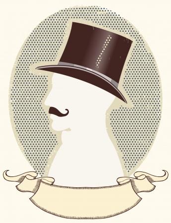 black hat: Caballero en un sombrero de copa negro y la silueta mustache.face y desplazamiento de texto