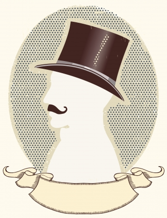 Gentleman in a top black hat and mustache.face silhouette and scroll for text Vector