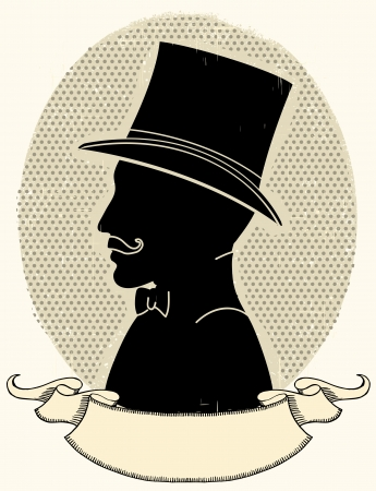 aristocrat: Gentleman in a a hat and mustache.face black silhouette and scroll for text