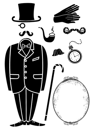 bowler hats: Gentleman retro suit and Accessories.black symbol isolated for design Illustration