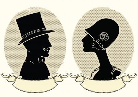 Mężczyzna i kobieta portraits.vintage ilustracji