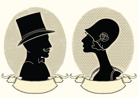 gentleman: Man and woman portraits.vintage illustration