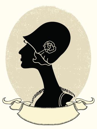 Vintage woman portrait.black silhouette Stock Vector - 19715004