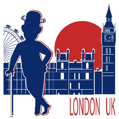 Gentleman in black bowler hat and cane on London background Vector illustration Vector