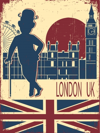 london england: English gentleman in black bowler hat and cane Vintage London background on old poster Illustration